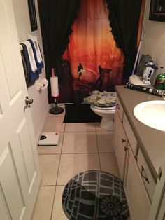 Trendy Mom Reviews Star Wars Bathroom Makeover With A DIY Light - Star wars bathroom decor for small bathroom ideas
