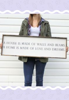 """""""A house is made of walls and beams, a home is made of love and dreams"""" Love this quote! This would go good on a wall by itself or part of a gallery wall. #ad #farmhouse #walldecor"""