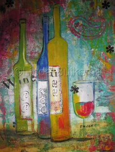 pink and green, preppy, wine art!
