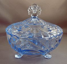 Lovely blue depression glass covered dish