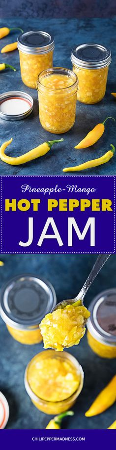 Pineapple-Mango-Hot Pepper Jam – Make your own sweet (but not TOO sweet) spreadable hot pepper jam at home with this recipe that incorporates tropical pineapple and mango for just the right flavor. This is one of my favorite jam recipes.