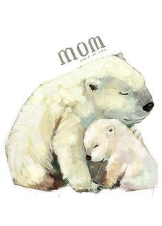 妈妈我爱你。雪娃娃手绘治愈系水彩动物插画。