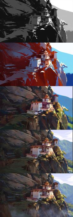 50 Ideas landscape concept art tutorial design illustrations for 2020 Digital Painting Tutorials, Digital Art Tutorial, Art Tutorials, Digital Paintings, Environment Concept Art, Environment Design, Landscape Concept, Landscape Art, Landscape Architecture