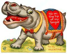 Vintage Hippo Valentines