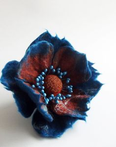 Felted Flower Pin Poppy Brooch Felted Jewelry by ShishLOOKdesign, $21.00