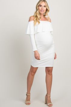 b03bf454761 White Ruffle Trim Off Shoulder Fitted Maternity Dress