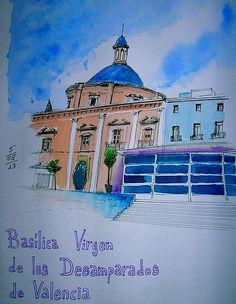 Basilica Virgen de los Desamparados, Valencia. by Josep Castellanos. #Valencia #watercolor #sketchcrawl
