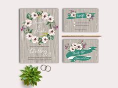 Rustic Wedding Invitation Printable, Digital File - Floral Wedding Invitation Suite, Spring / Summer Invite by tranquillina on Etsy https://www.etsy.com/listing/184378162/rustic-wedding-invitation-printable