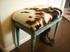 Cowgirl Chic Cowhide and Turquoise Piano Bench Seat- made to order - Western Decor Cowhide Decor, Cowhide Furniture, Cowhide Bench, Western Furniture, Rustic Furniture, Cabin Furniture, Furniture Design, Piano Stool, Piano Bench