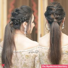 Puffy Ponytail Hairstyles That Indian Brides Are Getting Ob – WedBook Hairdo For Long Hair, Braided Hairstyles For Wedding, Wedding Hairstyles For Long Hair, Hair Styles For Wedding, Open Hairstyles, Bride Hairstyles, Ponytail Hairstyles, Indian Hairstyles, Front Hair Styles