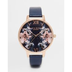 Olivia Burton Floral Big Dial Watch ($120) ❤ liked on Polyvore featuring jewelry, watches, navy, dial watches, floral print watches, floral watches, navy blue watches and floral jewelry