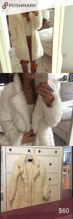 LF coat LF faux fur/shag coat. INSANELY comfy and fluffy. Worn a couple of times, perfect condition. Off white, size S (8) LF Jackets & Coats