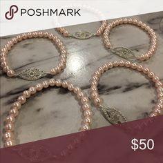 Evil eye bracelets Selling bundle of 5 handmade Evil eye bracelets. Handmade by me, with pink pearls and Evil eye accent. Jewelry Bracelets
