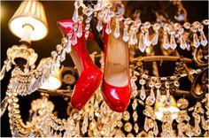 Red Christian Louboutin Bridal Shoes ~ Photo: Motley Melange ~ Red Wedding