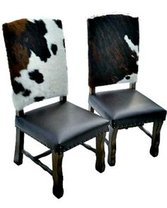Cowhide and leather dining chairs
