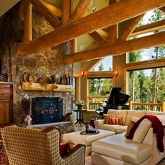 Beautiful living room inside one of our log homes.