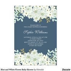 Blue and White Flower Baby Shower Card This elegant baby shower invitation features a pretty blue background with classy white bouquets both at the top and bottom. All text is printed in white on the blue background. The back of the invitation is also solid blue. This is the perfect invitation for those new mommy's who are expecting a sweet baby boy! If you prefer, you can even use this invitation for a bridal shower, instead of a baby shower. All text featured on the invitation can be…
