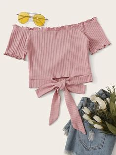 Shop Lettuce Trim Tie Hem Rib-knit Bardot Top at ROMWE, discover more fashion styles online. Girls Fashion Clothes, Teen Fashion Outfits, Girl Fashion, Girl Outfits, Fashion Blogs, Style Clothes, Fashion Styles, Clothes For Women, Fashion Trends
