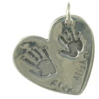 Double handprint necklace charm, 2 prints and 2 names, perfect for siblings. Also a lovely idea for newlyweds to have Mr & Mrs Handprints set in fine silver as a wedding day keepsake, would make a great wedding present.