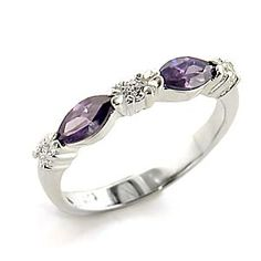 Sterling Silver Band - Marquise Cut Purple CZ Band Ring   Hope Chest Jewelry