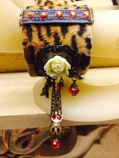 Leopard and Denim Cuff Bracelet от PiidaDiida на Etsy