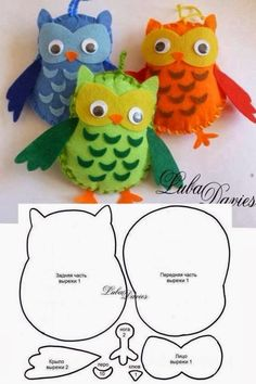 buhos - Make It: Felt Owls – Templates (self explanatory, no link) - Fabric Crafts, Sewing Crafts, Sewing Projects, Craft Projects, Sewing Ideas, Owl Crafts, Crafts To Do, Crafts For Kids, Felt Owls