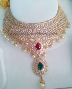 Jewellery Designs: CZ Set Like a Diamond Set