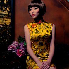 Sexy Sleeveless Gold cheongsam dress