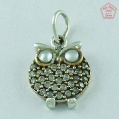 Attractive OWL _ 925 Real Sterling Silver & Pearl & CZ Pendant Jewellery…