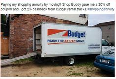 Here's how Jon saved 20% on Budget Truck Rental & got #cashback! www.allinmycart.com, click STORES, search BUDGET, check HOT DEALS for coupon code. Boom! #ShoppingAnnuity