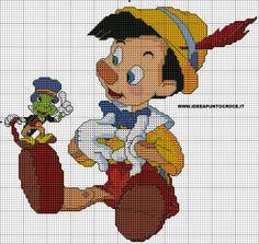 Pinocchio e il grillo parlante disney punto croce copertina baby