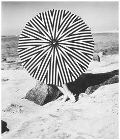 the striped parasol ; model January rylander 1957 by Hermann Landshoff