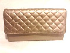 Ganson Leather Wallet Platinum Organizer in Light Dusty Gold