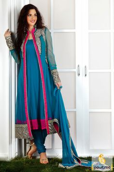The fashionable light blue net chiffon georgette anarkali salwar suit party wear salwar suit is made up of jari lace patti work,stone work,cut work and embroidery.