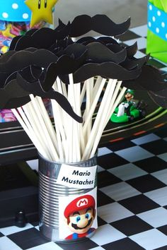 "Mario Mustache on a straw. Photo 7 of Super Mario Brothers / Mario Kart Wii / Birthday ""Super Marshall Brothers Birthday Party "" Super Mario Birthday, Mario Birthday Party, Super Mario Party, 6th Birthday Parties, Funny Birthday, Birthday Ideas, Mario Y Luigi, Nintendo Party, Wii Party"
