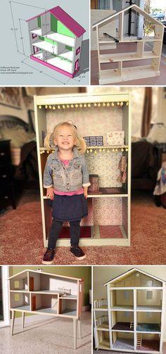 construir una casa de muñecas de madera donde las niñas jueguen