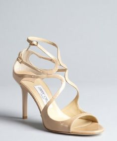 Jimmy Choo: nude patent leather strappy sandals. Gahhhhhh.