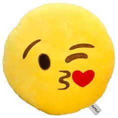 Kuss Emoji Kissen - Original cuteji Emoticon Kissen - Emotionen zum Kuscheln - Das Perfekte Geschenk - Beste Qualit�t - Zufriedenheitsgarantie