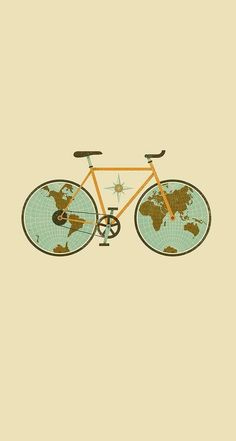 Circle Bike World Bicycle Illustration Funny Iphone Wallpaper