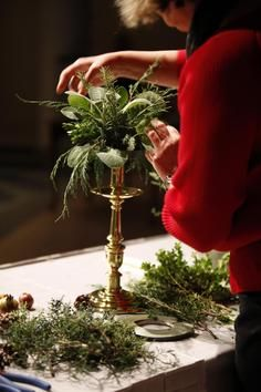 candle stick arrangements for Christmas table