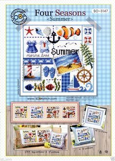 """Four season-Summer"" Counted cross stitch chart. SODAstitch SO-3147 #SODAstitchsodastitch #PillowCover"