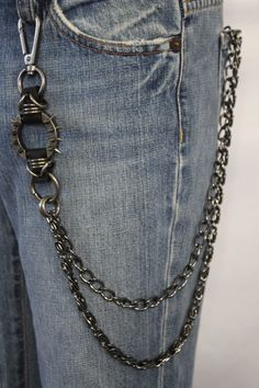 Black Pewter Chunky Metal Spikes Extra Long Double Wallet Chain KeyChain Punk Rocker Motorcycle Trucker New Men Style