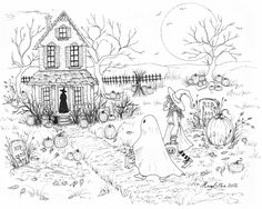 A coloring page for you, by me! Happy Halloween! (Please use for  your coloring enjoyment only)