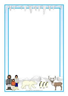 Polar regions A4 page borders (SB8957) - SparkleBox