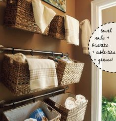 Baskets on curtain rods