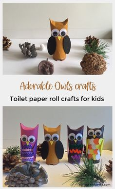 Toilet paper roll owls - an Owlsome craft for kids Here is an easy toilet paper roll owl craft to make with your kids. Our tutorial includes 4 different owls toilet paper roll crafts for kids. Kids Craft Box, Paper Crafts For Kids, Crafts For Kids To Make, Easy Crafts, Craft Ideas, Owl Crafts Kids, Crafts For Children, Craft Work, Craft Activities