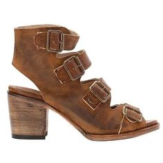 Freebird Quail - Tan Leather Four-Buckle Strap Block Heel Sandal