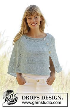 """Knitted DROPS poncho in garter st with lace pattern and buttons in the side, worked top down in """"Brushed Alpaca Silk"""""""