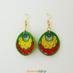 Boucles d'oreilles colorées quilling design originales