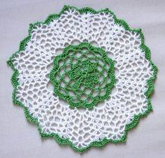 Irish Shamrock Crochet Lace Doily, Clover Centerpiece, St Patrick Day, Green and White, Handmade Home Decor
